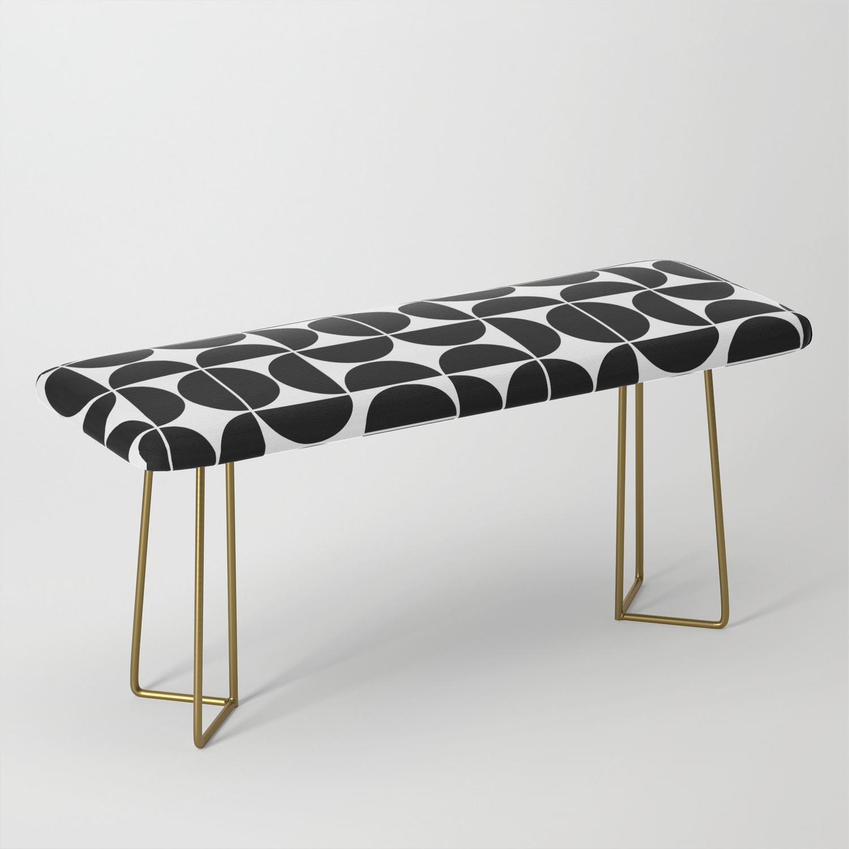 Mid Century Modern Geometric 04 Black Bench By Theoldartstudio