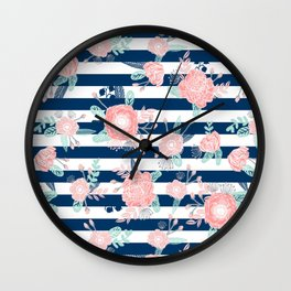 Florals bouquet navy stripe modern classic pattern print nautical preppy chic kids children college  Wall Clock