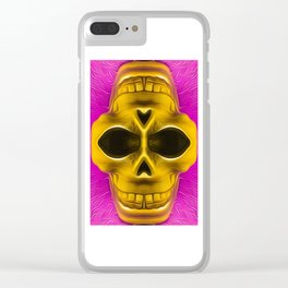 drawing and painting golden skull with pink background Clear iPhone Case