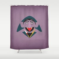 sesame street Shower Curtains featuring Sesame Street Vintage Nursery Art Count Von Count Retro Style Minimalist Poster Print by The Retro Inc