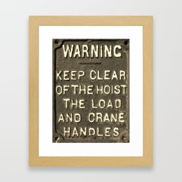 VICTORIAN WARNING SIGN KEEP CLEAR IN SEPIA Framed Art Print