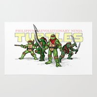 ninja turtles Area & Throw Rugs featuring Philippine Revolutionary Ninja Turtles by Cesar Cueva