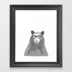 Halftone Hipster Bear Framed Art Print