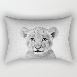 Baby Lion - Black & White Rectangular Pillow