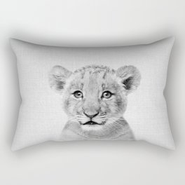 Baby Lion - Black & White Rectangular Pillow