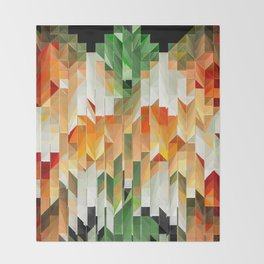 Geometric Tiled Orange Green Abstract Design Throw Blanket