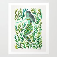 Kelp Forest Mermaid – Green Palette Art Print