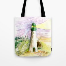 Lighthouse At Dusk Tote Bag