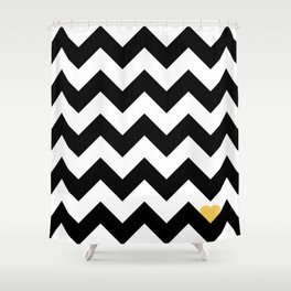 Heart & Chevron - Black/Yellow Shower Curtain