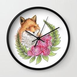 Fox in Bloom Wall Clock