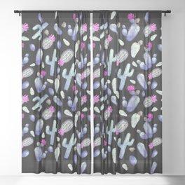 Purple Cactus Pattern on Black | Pink Periwinkle Cacti Watercolor Sheer Curtain