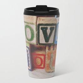LoveYou Vintage Children's Wood Block Art Travel Mug