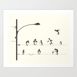 PENGUINS ON A WIRE Art Print