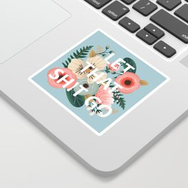 LET THAT SHIT GO - Sweary Floral (blue) Sticker