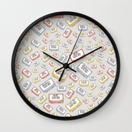 Primary Mixtapes on Neutral Grey Wall Clock