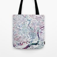 philadelphia Tote Bags featuring Philadelphia map by MapMapMaps.Watercolors