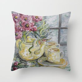 Morning Tea for Two Throw Pillow