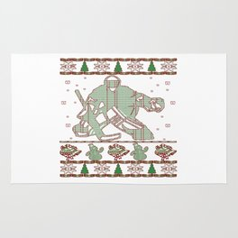 Hockey Goalie Christmas Rug