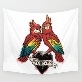 Lover Parrots Wall Tapestry
