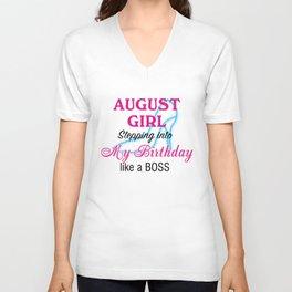 August Girl Birthday Unisex V-Neck