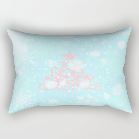 Joy,Noel,Merry Christmas and Star pattern - pink on aqua Rectangular Pillow