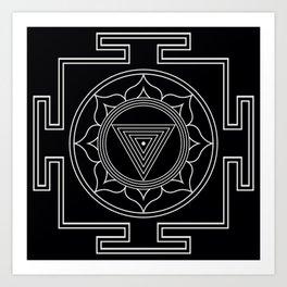 Kali yantra black symbol Art Print