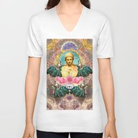 holographic V-neck T-shirts featuring softest romantic rose queen by STORMYMADE