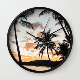 Sunset Through the Palm Trees Wall Clock