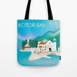 Kotor Bay, Montenegro - Skyline Illustration by Loose Petals Tote Bag