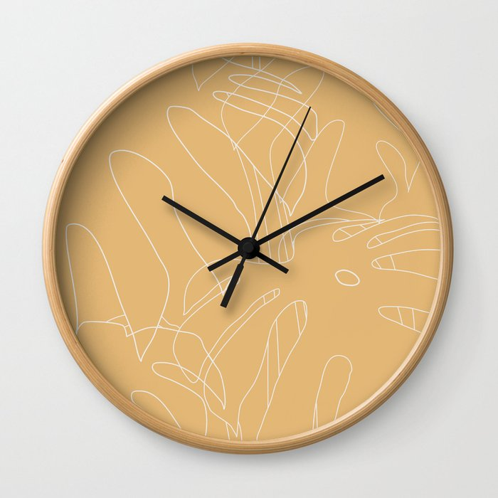 Monstera No2 Yellow Wall Clock