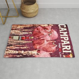 Vintage Cordial Bitter Campari Pink Deco Advertisement Print Rug