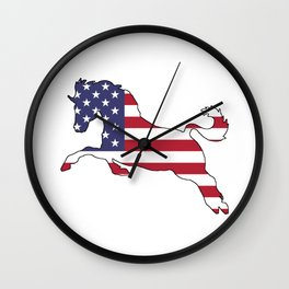 "Horse ""American Flag"" Wall Clock"