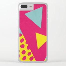 Pink Turquoise Geometric Pattern in Pop Art, Retro, 80s Style Clear iPhone Case