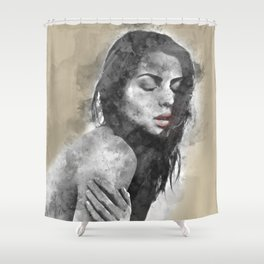 dreaming woman Shower Curtain