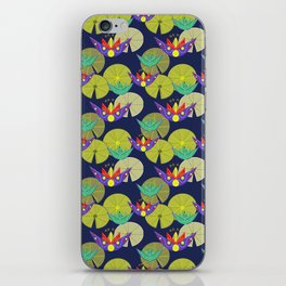 Waterlilies in a pond seamless pattern iPhone Skin