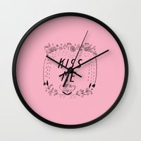 Kiss Me - Pink Wall Clock
