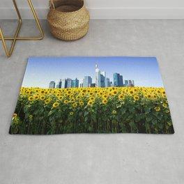 Frankfurt Germany Skyline Sunflower Field Rug