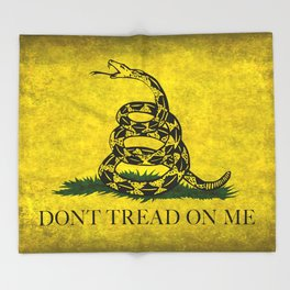 Gadsden Don't Tread On Me Flag - Worn Grungy Throw Blanket