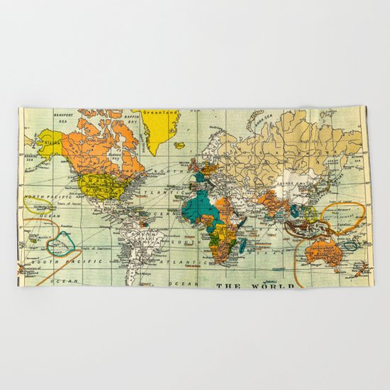 Map of the old world Beach Towel
