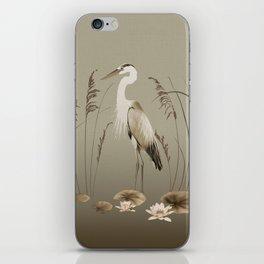 Heron and Lotus Flowers iPhone Skin