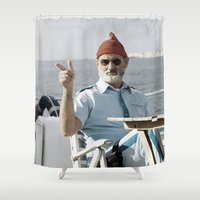 the life aquatic Shower Curtains featuring LIFE AQUATIC by VAGABOND