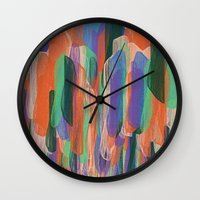 arya Wall Clocks featuring summer scribbles 2 by Agnes Bak