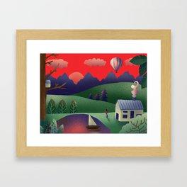 Digital Landscape Illustration Framed Art Print