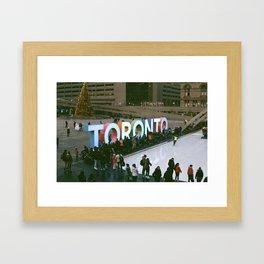 Christmas Downtown 35mm Framed Art Print