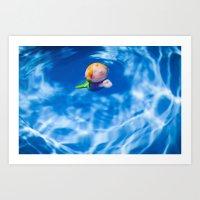 Mermaid in the pool Art Print