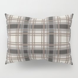Brown Plaid with tan, cream and gray Pillow Sham