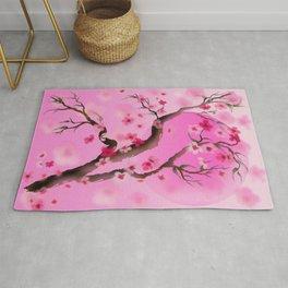Deep pink sakura (cherry blossoms) sumi-e Rug