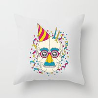 happy birthday Throw Pillows featuring Happy Birthday by Quick Brown Fox