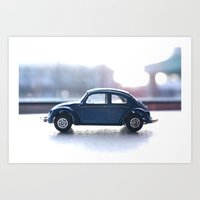 volkswagon Art Prints featuring blue bug by AP Photography