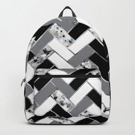 Shuffled Marble Herringbone - Black/White/Gray/Silver Backpack